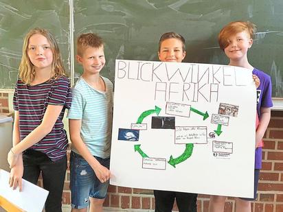 Lena, Timo, Tobias und Luzia mit einem Erklärplakat zum Zyklon Idai, der auch Schäden bei Hilfsprojekten des Vereins anrichtete. Foto: privat