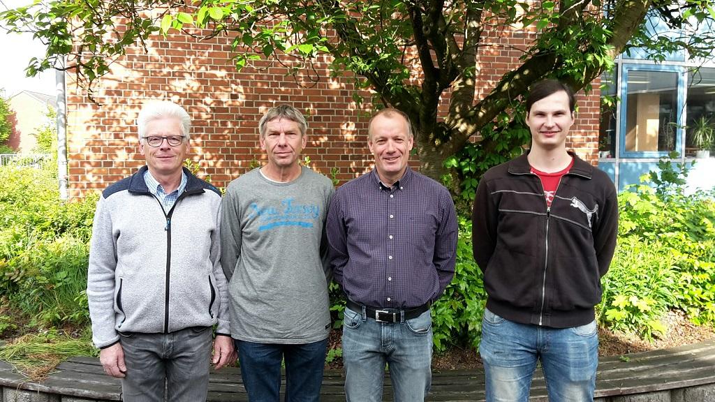 Unsere Hausmeister (von links): Herr Greiling, Herr Gödde, Herr Winter und Herr Silins